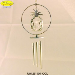 SILVER WIND CHIMES WITH PINEAPPLE WITH METAL APPLICATIONS SWAROVSKI CRYSTAL - Cm. 16 x 7