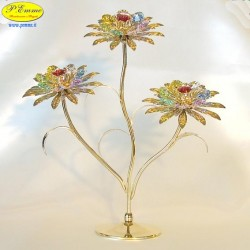 TRIPLE FLOWER GIANT GOLD - Cm. 25 x 23 - Swarovski Elements