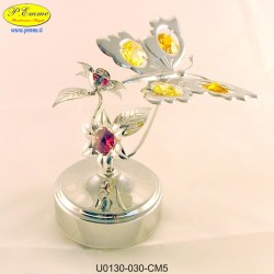 SILVER BUTTERFLY ON FLOWERS WITH CHIME METAL APPLICATIONS WITH SWAROVSKI CRYSTAL - Cm. 14 x 11