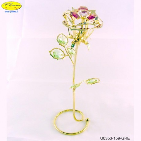 ROSE WITH STEM METAL GOLD WITH SWAROVSKI CRYSTAL APPLICATIONS - Cm. 22 x 9