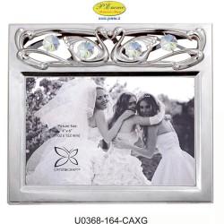 HORIZONTAL WEDDING PHOTO FRAME SILVER 10X15 APPLICATIONS WITH SWAROVSKI CRYSTAL - Cm. 17.5 x 15.5