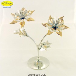 DOUBLE FLOWER SILVER METAL APPLICATIONS WITH SWAROVSKI CRYSTAL - Cm. 19 x 18.5