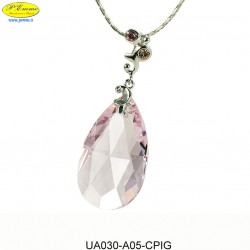 NECKLACE WITH PENDANT PINK / PEACH - Swarovski Elements