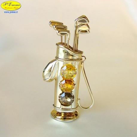 GOLF BAG GOLD - Cm. 11 x 6 - Swarovski Elements