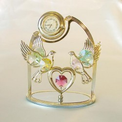 DOVES ON HEART WITH GOLD WATCH - Cm. 11.5 x 10.5 - Swarovski Elements