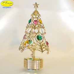 CHRISTMAS TREE GOLD REVOLVING MUSICAL - Cm. 17.5 x 9.5 - Swarovski Elements