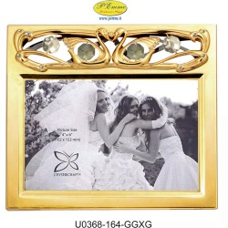 FRAME HORIZONTAL GOLDEN WEDDING PHOTO 10X15 APPLICATIONS WITH SWAROVSKI CRYSTAL - Cm. 17.5 x 15.5