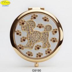 Mirror golden dog with Strass Sw. - D.cm.6,5