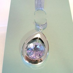 SILVER BOOKMARK. cm.4 X 2.5 (pendant) - Swarovski Elements
