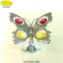 BUTTERFLY LARGE SILVER - cm. 7x8 - Swarovski Elements