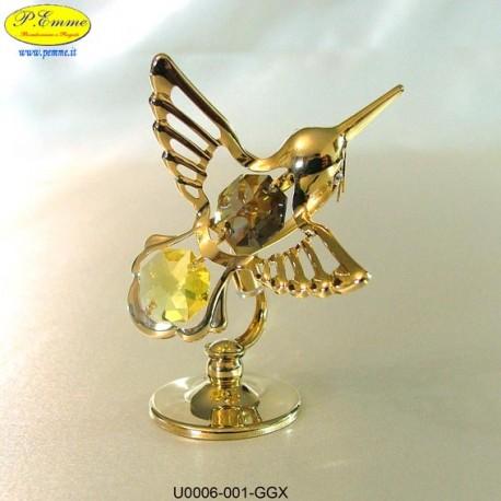 COLIBRI' GOLD - cm. 8x6 - Elementi SWAROVSKI