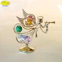 ANGELO CON TROMBA GOLD - Cm. 8,5 x 8,5 - Elementi SWAROVSKI