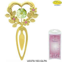 BOOKMARKS WITH HEART GOLD - Swarovski Elements