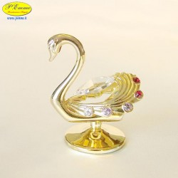 SWAN GOLD - Cm. 5.5 x 5 - Swarovski Elements