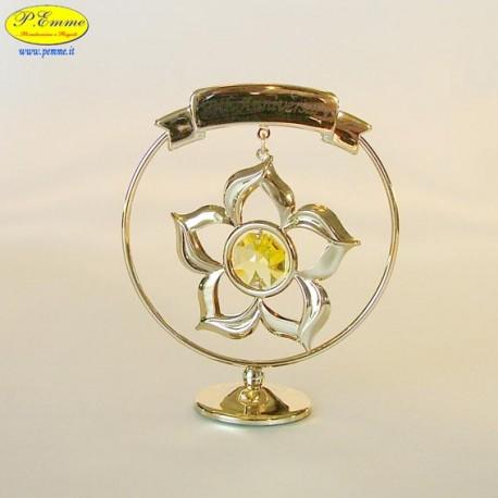FLOWER 50th ANNIVERSARY GOLD - Cm. 8.5 x 7 - Swarovski Elements