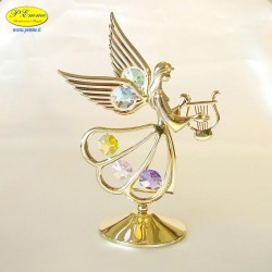 ANGEL WITH BIG LIRA GOLD- Cm. 15.5 x 11.5 - Swarovski Elements