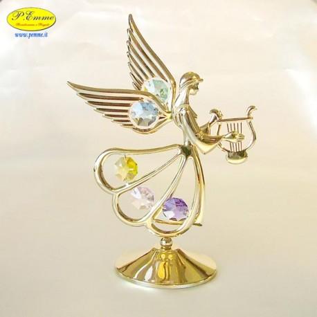 ANGEL WITH BIG LIRA GOLD- Cm. 15.5 x 11.5 - Swarovski Elements