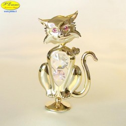 KITTEN WITH GOLD HEARTS - Cm. 11 x 7.5 - Swarovski Elements