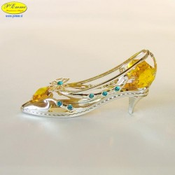 SHOE WITH HIGH HEEL GOLD - Cm. 8.5 x 4 - Swarovski Elements