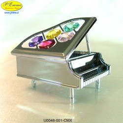 PIANO SILVER - cm. 8 x 6 - Swarovski Elements