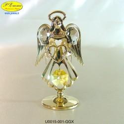 ANGELO CON CUORE GOLD - cm. 8x5 - Elementi SWAROVSKI