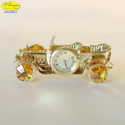 VINTAGE CAR WITH CLOCK GOLD - Cm. 9 x 4.5 x h.4 - Swarovski Elements