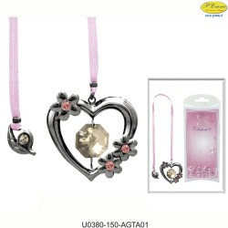 BOOKMARK WITH / TAPE AND HEART CHROME - Swarovski Elements